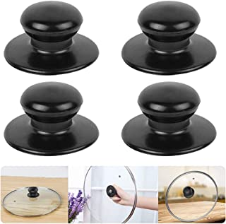 4 Pack Pot Lid Knobs,Sonku Universal Kitchen Cookware Lid Replacement Knobs Casserole Kettle Cover Glass Saucepan Lid Pot Holding Handles-Black