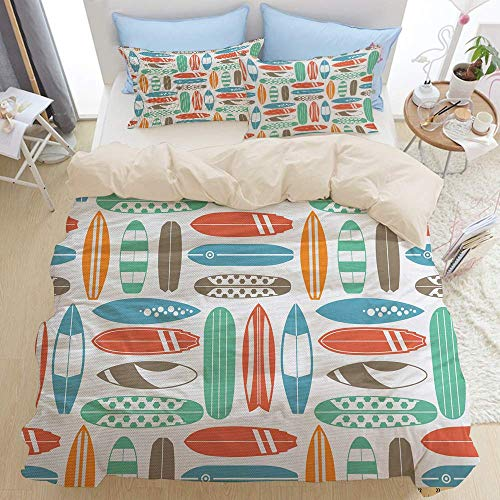 1203 beige Duvet Cover Set,Colorful Surfing Sea Pattern with Summer Travel Illustration in Retro Colors,Microfibre Duvet Cover Set 200x200cm with 2 Pillowcase 50x80cm
