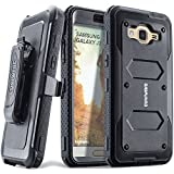 COVRWARE Aegis Series Compatible with Galaxy J3 (2016)/ J3 V/Sky/Sol/ j36/ j36V/Amp Prime/Express Prime Full-Body Holster Armor Case with Built-in Screen Protector, Belt-Clip, Kickstand, Black
