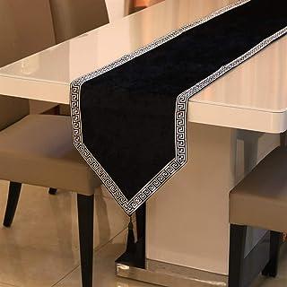 Beau Rayures Style européen Chemin de Table en Tissu avec Glands Décoration Salle for Le dîner fête de Mariage Multicolor ...