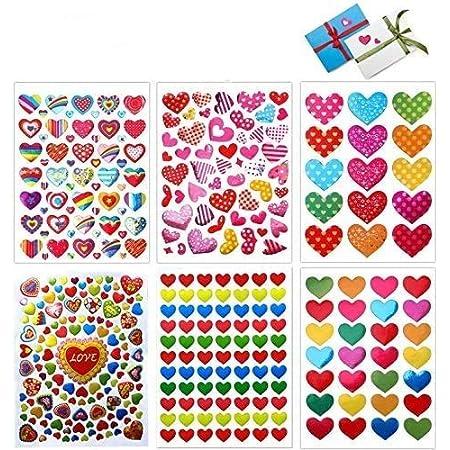 Stickers Coeur, 60 Feuilles Autocollants Adhésifs en Coeur Colorés Stickers pour Les Anniversaires, Saint-Valentin, Mariage, Album Scrapbooking DIY(Coloré)