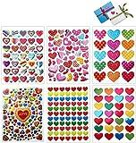 Dream Loom Herz Aufkleber, 60 Blatt Herzen Liebe Aufkleber Deko Sticker für Scrapbooking, Valentinstag, Hochzeit (Bunt)