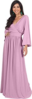 Womens Long Kimono Sleeve V-Neck Wrap Belted Empire Flowy Maxi Dress