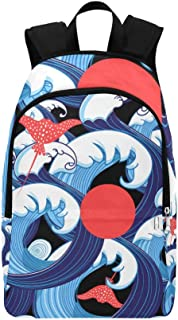 QYUESHANG Vector Abstract Sea Pattern from Beautiful Waves A Casual Daypack Travel Bag College School Backpack Mens Women