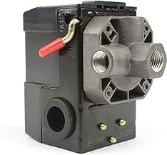 Interstate Pneumatics LF10-4H Pressure Switch - 1/4 inch FPT Four Port Bend Lever Switch 20 Amps 85-125 psi Fits Dewalt Hitachi Emglo Makita Porter Cable Ridgid Rolair Air Compressors