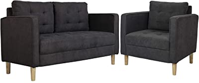 "AODAILIHB 55""/30"" Modern Soft Cloth Tufted Cushion Loveseat Sectional Sofa Set Small Space Configurable Couch Set of 2 (Gray)"