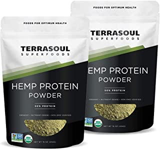 Terrasoul Superfoods Organic Hemp Protein Powder (50% Protein), 2 Pounds