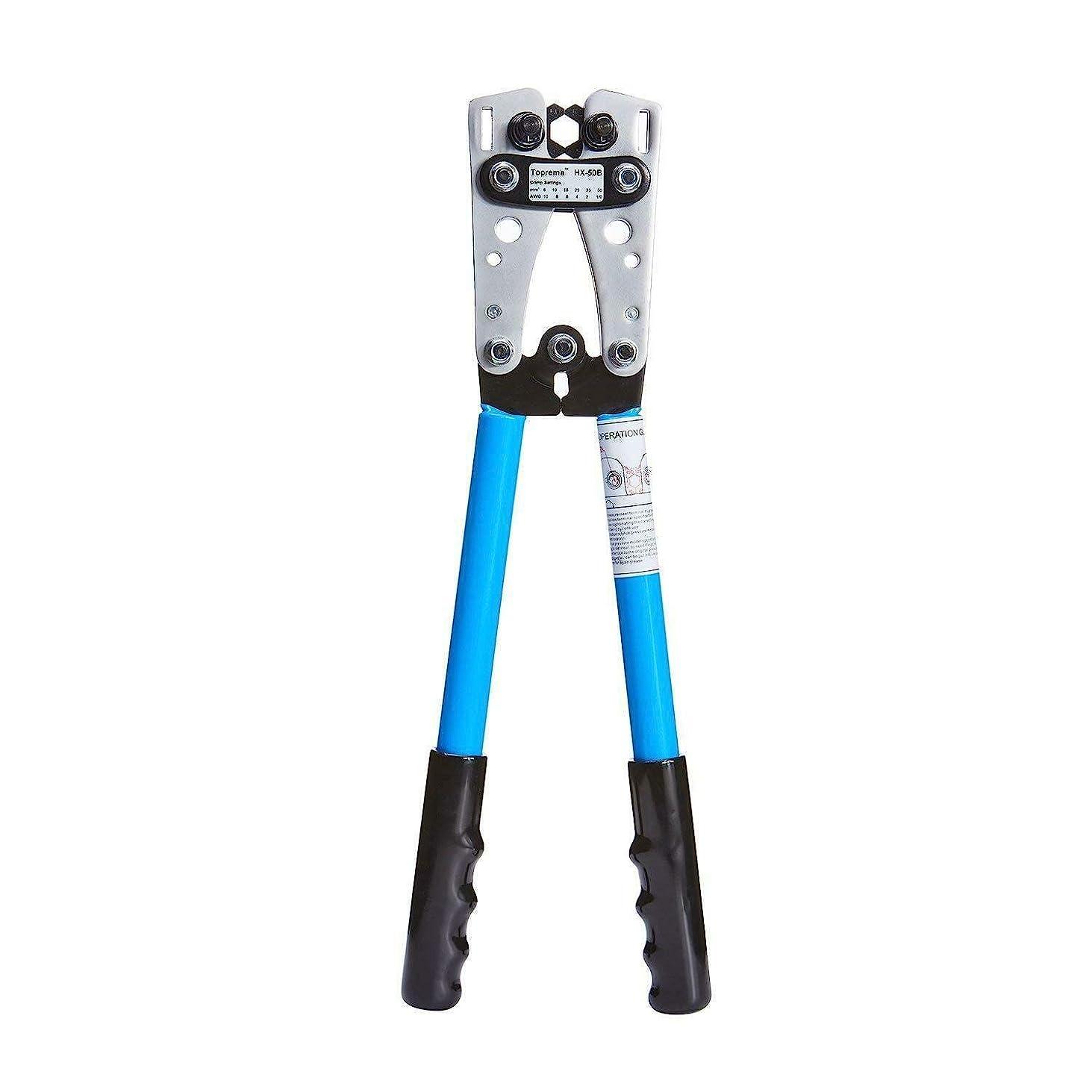 平行切断する落花生HC バッテリーケーブルラグ圧着工具手ワイヤーカッター付き10-1 / 0 AWGからワイヤーケーブルを圧着するための電気技師プライヤー