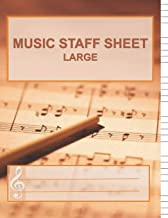 Music Staff Sheet Large: Song Writing Journal with Extra Large Lines for the Visually Impaired. Wide Staff Manuscript Paper Notes for Kids. Six Large ... Musicians, Composers, Rock Band, Orchestra