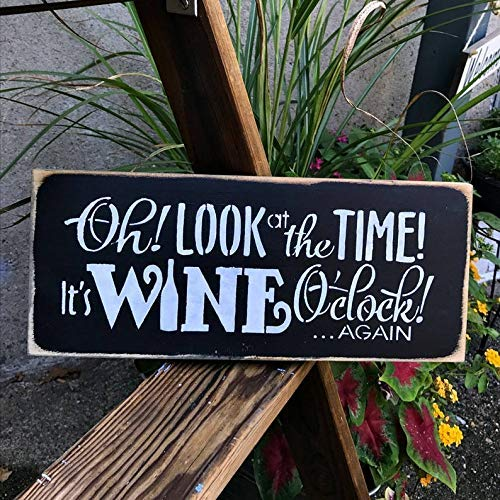 Modtory witziges Weinschild, Weindekoration, Geschenk für den Weinliebhaber, Wine O'Clock, Holzschild, Wein-Spruch, Geschenkidee für Freunde, Duschgeschenk