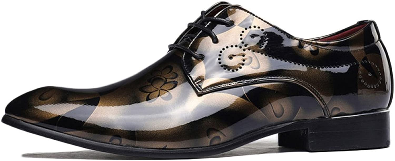 Snfgoij Boy Leather shoes Black Tie Formal Soft Commerce Fashion Plus Size Men's shoes Glossy Lace up shoes
