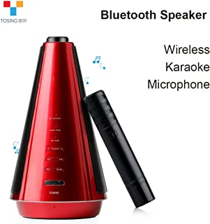 $49 » TOSING T08 Wireless Karaoke Microphone Bluetooth Speaker 2-in-1 Handheld Sing & Recording Portable KTV Player for iPhone/Android Smartphone/Tablet Compatible (Red)