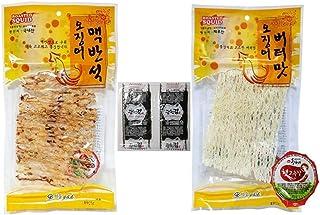 Dried Squid Snack Roasted on Elvan Stone (Macbanseok) 27g + Butter Seasoned Squid 32g + Gochjang (Red Pepper Paste) per each pack + Two Seaweed snack (??????+??????+??2?)