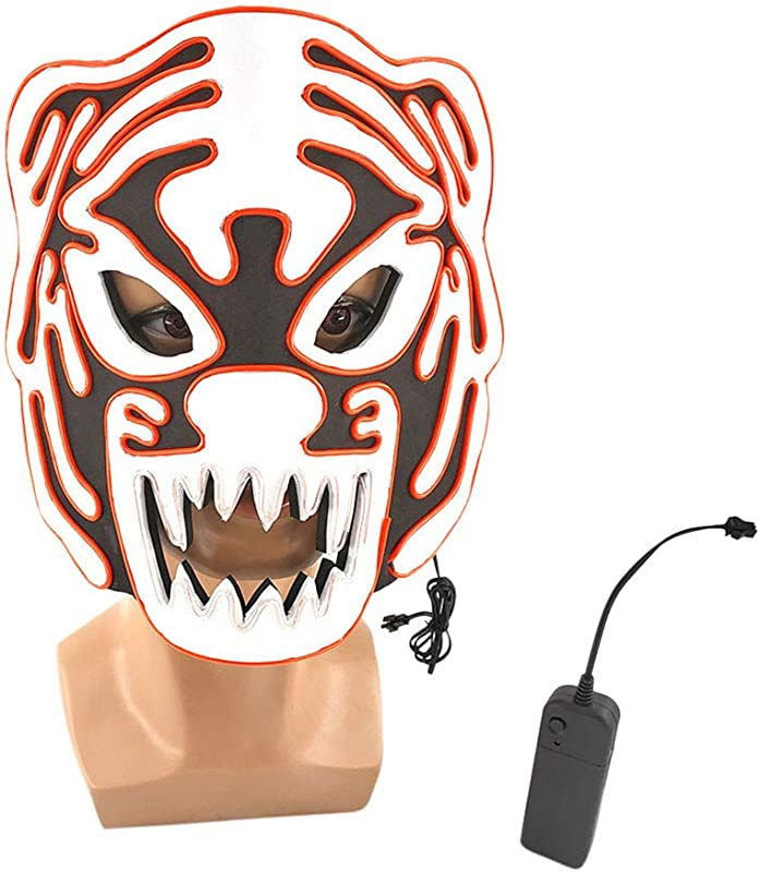 Panzisun LED Tiger Masks Glow Scary Light Up Cosplay Costume Halloween Christmas Carnival Party