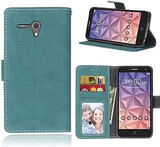 Sangrl Libro Funda para Alcatel One Touch Pop 3 (5.5 Pulgada), PU Cuero Cover Flip Soporte Case [Función de Soporte] [Tarjeta Ranuras] Cuero Sintética Wallet Flip Case Azul