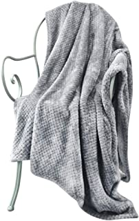 LEWONDER Throw Blanket, Flannel Plush Soft Blanket, Light Weight Warm Blanket, Grey 60 x 80in