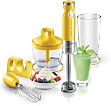Sencor SHB4366YL Ultra Quiet and Thin Stainless Steel Stick Blender with Variable Speed Control and Accessories, Small, Yellow