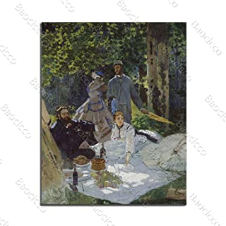 Baocicco 24x36 Inch Le Dejeuner Sur L'Herbe Luncheon Claude Monet Canvas Printing Picture Canvas Wall Art Oil Painting Living Room Bedroom Exhibition Alley Tea Room Classroom No Frame Rolled Package