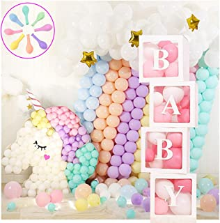 LATT Baby Shower Box Decorations, 4Pcs Large Transparent Clear Balloons Boxes with Baby Letter Baby Shower Blocks for Party Supplies, Baby Girl Birthday (20 Balloons Included)