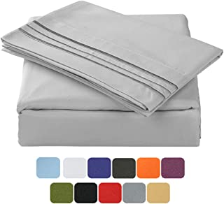 TASTELIFE 105 GSM Deep Pocket Bed Sheet Set Brushed Hypoallergenic Microfiber 1800 Bedding Sheets Wrinkle, Fade, Stain Resistant - 4 Piece(Grey,Queen)