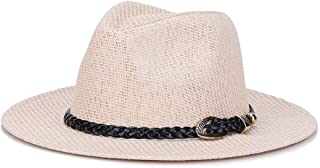 SHENTIANWEI Hat Straw hat Summer Linen Sunshade Cool hat Leather Whip European and American Tide hat (Color : White, Size : M56-58cm)