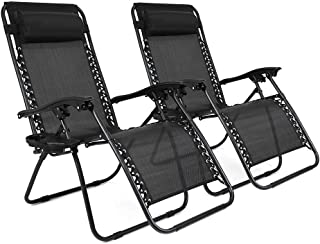 Niceway Zero Gravity Chair Lounge Chaise Reclining Lawn Chairs Black Set of 2