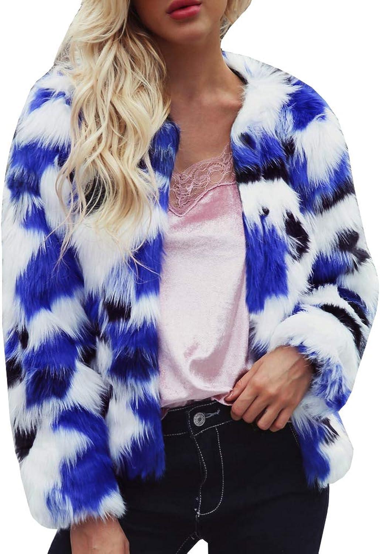 LIYT Women's Winter Warm Fluffy Faux Fur Multicolor Coat Jacket Short Overcoat