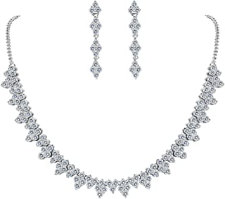 Clearine Women's Wedding Bridal CZ Multi Round Cluster Collar Necklace Dangle Earrings Set Clear Silver-Tone