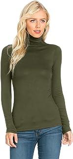 Fashion California Womens Turtleneck Slim Fit Pullover Jersey Thin T-Shirt Top (S-XXXXXL)