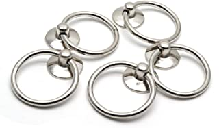 HONJIE Drawer Ring Pull Drop Ring Knobs in Silver Tone - (5 Pcs)