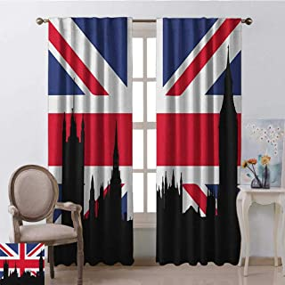 youpinnong Union Jack, Curtains with Valance, Houses of The Parliament Silhouette on UK Flag Historic Urban Skyline, Curtains Nursery, W96 x L108 Inch, Royal Blue Black Red