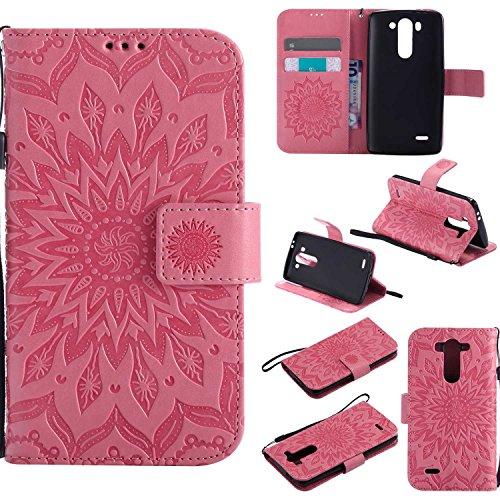Guran® PU Leder Tasche Etui für LG G3 s (5 Zoll) Smartphone Flip Cover Stand Hülle & Karte Slot Hülle-rosa