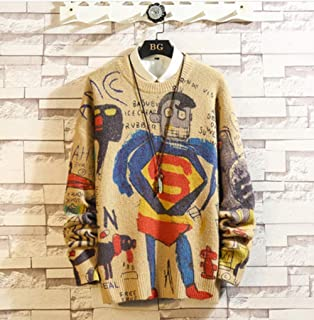 Spring Superman Print Casual Sweater Men Slim Fit Knitted Mens Sweaters Fashion Warm Pullovers Men Brand M-5XL