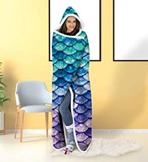 ALISISTER Hooded Blanket Adult Women Men 3D Print Cute Mermaid Sherpa Plush Fleece Wearable Throw Blanket 60 X 80 Inches Home Sofa Winter Super Soft Lightweight for Bed Room Spring
