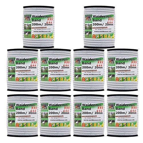 VOSS.farming SPARPACK: 10x Elektrozaun-Band 200m, 20mm, 1x0,20 Kupfer + 3x0,20 NIRO - besonders geeignet für Lange Einzäunungen - Weidezaunband