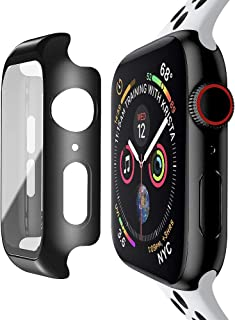 baozai Compatible with Apple Watch 44mm Case with Built-in Tempered Glass Screen Protector, Full Coverage Hard iWatch Case for Series 5 Series 4 (Matte Black)