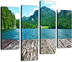 Alpsee Lake at Hohenschwangau Near Munich in Bavaria Canvas Wall Art Hanging Paintings Modern Artwork Abstract Picture Prints Home Decoration Gift Unique Designed Framed 4 Panel