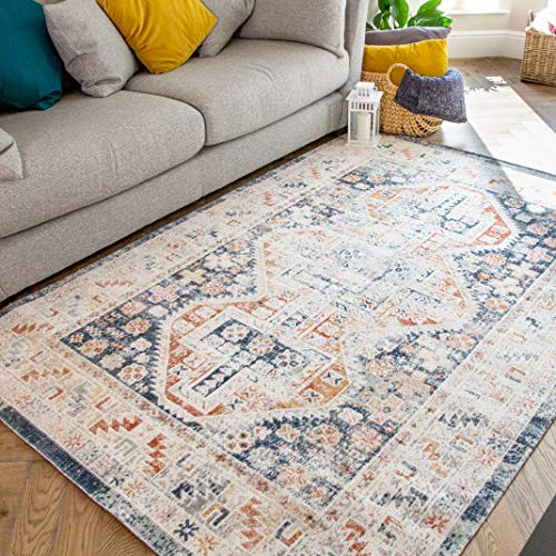 Classic Traditional Navy Distressed Trellis Morrocan Rug Vintage Flatweave Short Pile Boho Cream Orange Bordered Easy Care Living Room Bedroom Hallway Area Rugs 120cm x 170cm
