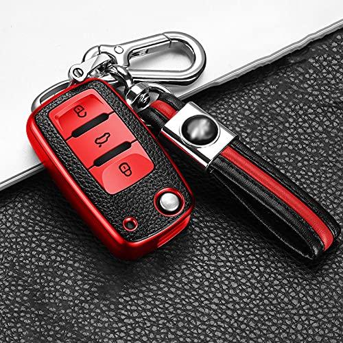 ZYHYCH TPU Carcasa para Llave remota para Coche, Apto para Volkswagen VW Golf MK7 Passat B5 B6 B7 Tiguan Skoda Octavia Apto para Seat Ibiza Leon FR 2, B, Rojo