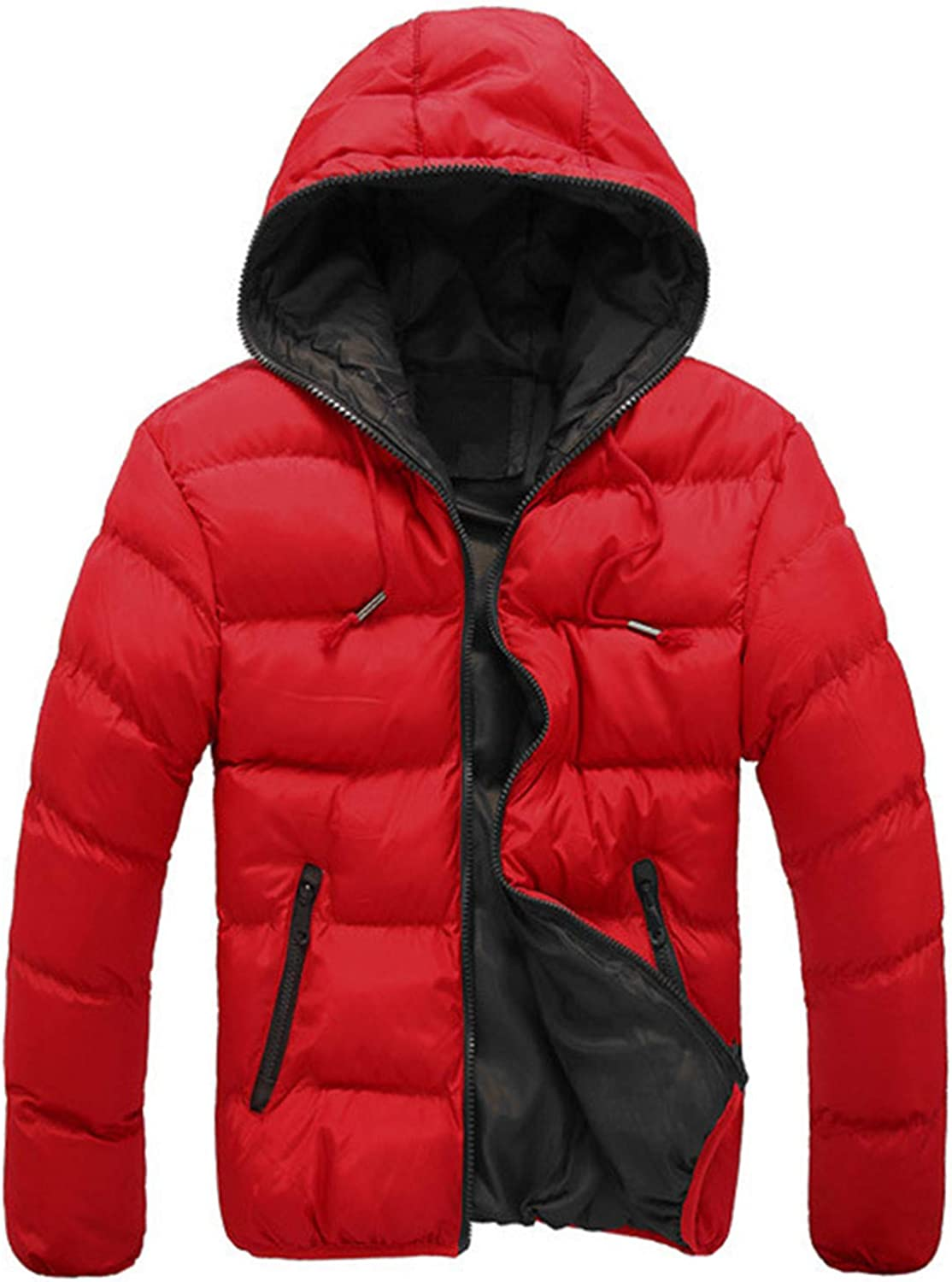 Men's Winter Jacket,Thicken Quilted Hooded Padded Down Alternative Puffer Coat Outerwear Overcoat (Black,Medium)