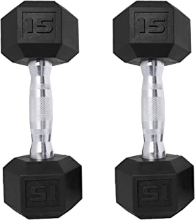 Saorzon Dumbbells Set of 2 Exercise & Fitness Dumbbell for Home Gym Free Weights Hand Hex Dumb Bells 5 8 10 12 15 20 25 30...