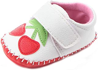 Lidiano Baby Non Slip Rubber Sole Cartoon Walking Slippers Crib Shoes Infant/Toddler (12-18 Months, White Cherry)