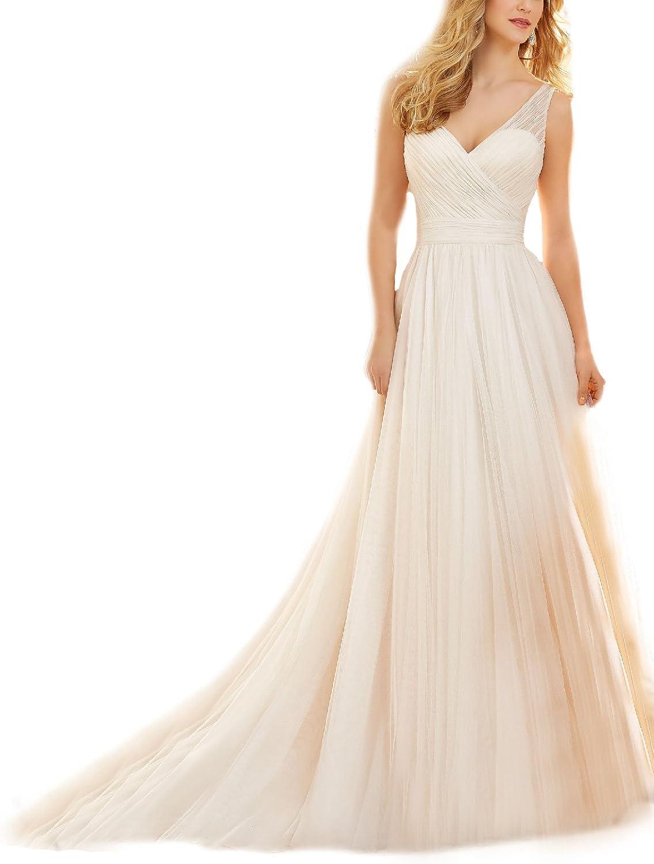 Monalia Womens Aline Bridal Gown Tulle VNeck Wedding Dress for Bride 2018 MHS14