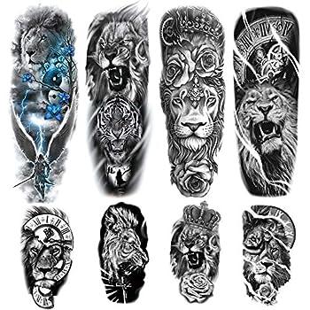 Lion Arm Sleeve Tattoos 4-Sheet Large Lion Full Sleeve Tattoos and 4-Sheet Fake Lion Half Arm Sleeve Tattoos Sticker Makeup Props for Men Women Kids
