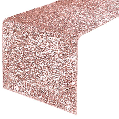 PONY DANCE Table Runner Sequins - Sparkling Glitter Decorative Luxurious Table Runner for Event Weddings/Birthday/Christmas and Holidays, 12 x 108 Inches, Pink, 1 PC