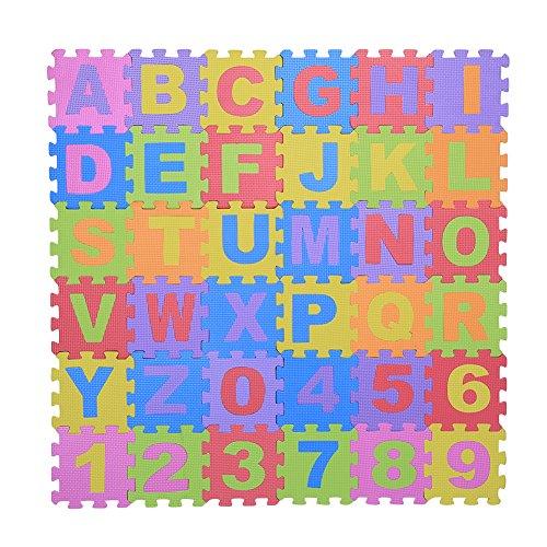 36 Pcs Infantile EVA Mousse Tapis de Jeu Puzzle Mousse Multicolore Souple Alphabets & Chiffres Bébé Enfants Jouer Ramper Non-Toxique Pad Jouets Jeux Educatifs 15 * 15cm