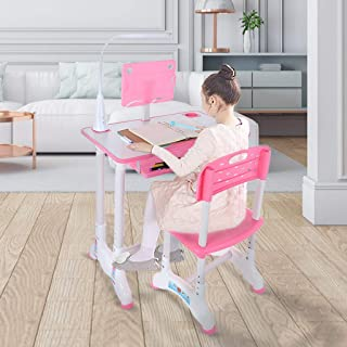 Kids Desk and Chair Set Bedroom Height Adjustable Study Desk with Dsektop and Drawer Pink US Fast Shipment Fit for Children Student Study Small Space Workstation for Living Room