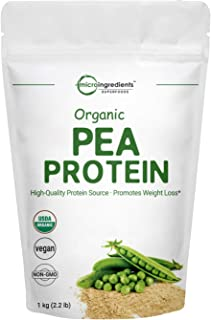 Organic Pea Protein Powder, 32 Ounces (2 Pounds), Organic Protein from Plants, Easy to Digest, Rich in Essential Amino Acids, Flavonoids and Minerals, No GMOs and Vegan Friendly
