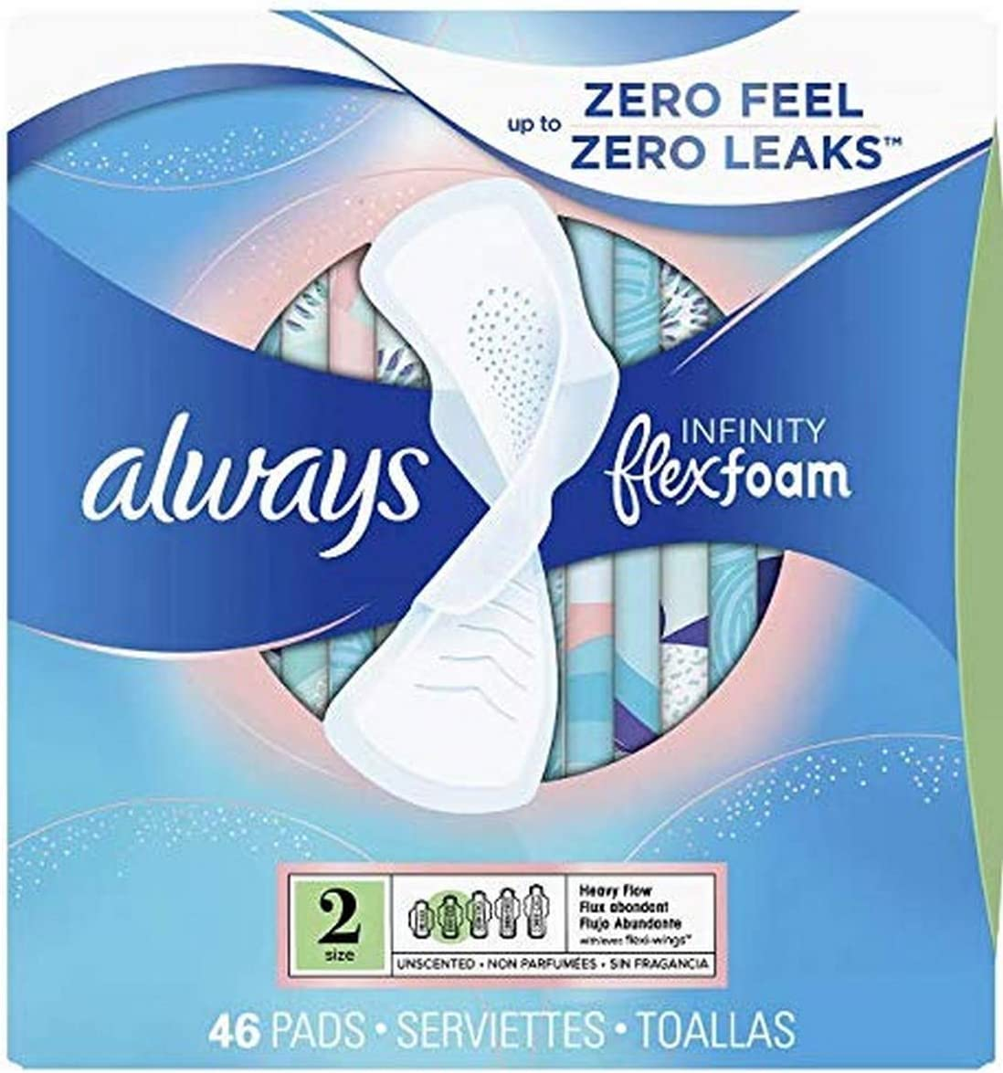Always Infinity Super Special SALE held Genuine Free Shipping Pads with Wings 46 Flow Count Heavy