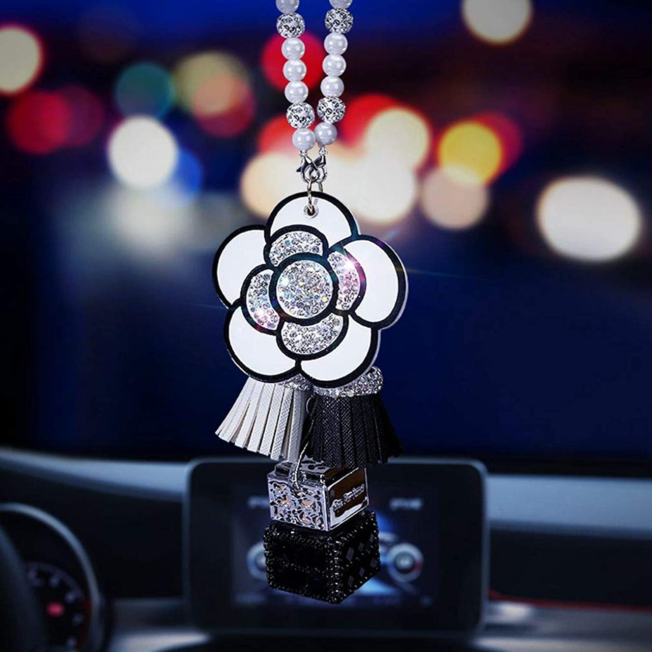 BabYoung Diamond Bling Crystal Car Pendant Rear View Mirror Ornament Accessories Camellia Perfume Hanging Decor for Car or Home (White)